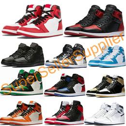 2019 tecido de fibra de carbono azul Nike air jordan 1 shoes Basketball Shoes Sapatos OG Mens Basketball Top Quality Banido Bred Triplo Preto Branco Azul Royal TOP 1s Designer Esporte Sneakers Tamanho 36-45