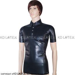 1913df4594beba Black Sexy Latex Shirt Polo Shirt Short Sleeves Fetish Rubber Clothings Plus  Size Male New Hotsales YF-0029