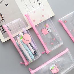 2019 coreano escola sacos rosa Rosa pêssego leite PVC transparente caixa de lápis caso saco de armazenamento coreano papelaria escola lápis casos para menina coreano escola sacos rosa barato