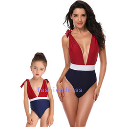 fbf1ae328e986 Mother And Daughter Swimsuit Print Sexy Deep V Neck One Piece Swimsuits  Matching Summer Swimming Clothing Parent-Child Swimsuit