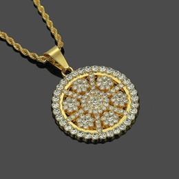 Collier tournesol plaqué or en Ligne-Collier zircon Sunflower avec pendentif diamant pour homme