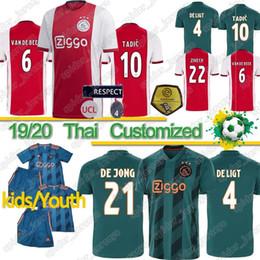 Camisas para bebés online-Tailandesa 2019 AJAX casa fútbol Jersey # 21 DE JONG distancia Camisa Ajax 19/20 # 10 # 4 TADIC DE Ligt # 22 ZIYECH uniforme Hombres fútbol bebé