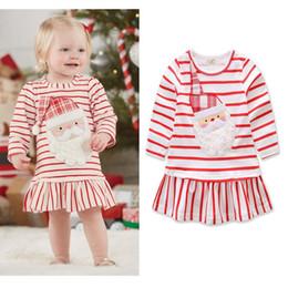 2019 kinder kleiden farbe gelb Baby-Weihnachtskleid-reizende Karikatur-gestreifte Weihnachtsvater-rote lange Hülsen-Kleid-Designer-Prinzessin Dresses Clothes HHA610