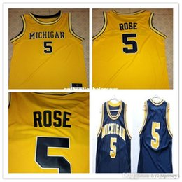 Maillots de retour du michigan en Ligne-Rose 5 pas cher Jalen Jersey Basketball Michigan State Throwbacks jaune sur mesure toute taille, le nombre et le nom cousu de haute qualité XXS-6XL