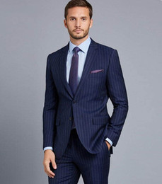 ternos slim fit suit Coupons - Navy Blue Stripe Men Suits Tailored Made Smart Business Male Blazers 2 Piece Slim Fit Ternos Masculino Wedding Party Prom Suits