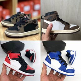 kids black sports shoes Coupons - New Kids Shoes Brown Low Travis Scott Basketball Shoes 1 High OG Cactus Jack 1S Sneakers Sports Trainer Baby Toddler Running Shoes Black
