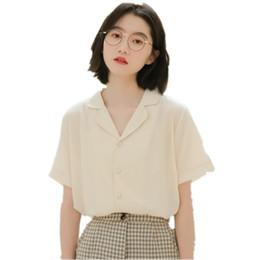Camisa de gasa de solapa modelo literaria, versión Xia Han femenina, camisa de manga corta francesa diseñada por el estudiante holgada desde fabricantes