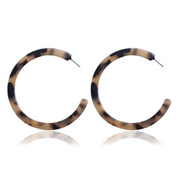 plastic acrylic sheets Promo Codes - Simple And Stylish Hot Selling Geometric Earrings Acrylic Acetate Sheet Leopard Printing C Shaped Stud Fashion Women Jewelry 5 Colors