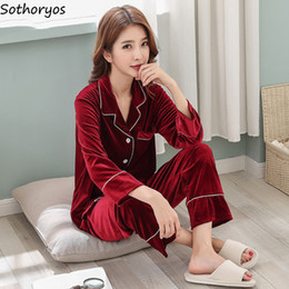 Pajama Sets Women Turn-down Collar Pockets Gold Velvet Warm Pajamas Womens  Simple Winter Sleepwear Elegant Two Piece Cute Set 16fd2197f