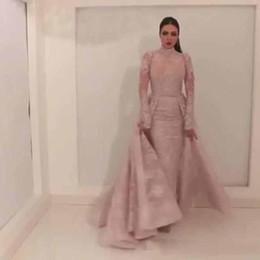 Estilo leste on-line-Estilo árabe de Alta Pescoço Vestidos de Baile 2019 com Trem da Corte Fixa Overskirt Oriente Médio Vestidos de Noite Custom Made