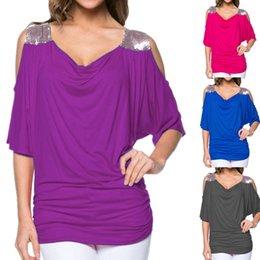 Fuori dalla camicetta di spalla online-Moda Off Ladys spalla casuale magliette allentate Top Paillettes camicetta