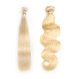 cabello humano rubio de 22 pulgadas Rebajas Tejido brasileño de cabello humano 613 Miel Rubia Paquetes de cabello lacio 1 UNID Remy Paquetes de cabello 12-30 pulgadas Onda del cuerpo puede comprar 3-4 Paquetes