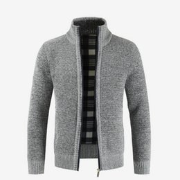 52ec6c00a044e thick cardigan men sweaters Promo Codes - Autumn Winter Men Thick Knitted  Cardigan Stand Collar Zipper
