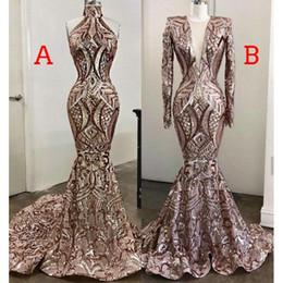 Arab sexy kleid bild online-Prickelnde Rose GoldPaillette Nixe-Abend-Kleider 2020 African Luxury Real Bild Muslim lange Hülse arabischen Prom Pageant Kleid