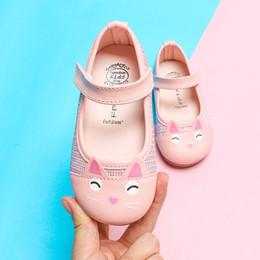 Gato das sapatas de couro das meninas on-line-Criança Bebê Meninas Crianças Bonito Dos Desenhos Animados De Couro Gato Sapatos Simples Princesa Sapatos