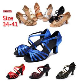 BJYL femmes sandales à talons talons hauts Talons hauts talons hauts talons hauts chaussures de danse latine dames en satin aux semelles souples chaussures latines femmes cales ? partir de fabricateur