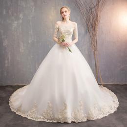 2019 vestido de organza maxi Vestido de casamento noiva nova princesa sonhador cauda longa fina barra pescoço maxi vestido de noiva vestido de organza maxi barato