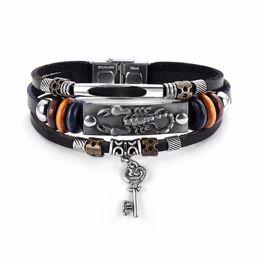 regali di tennis per gli uomini Sconti Transmit love Transmit love Braccialetto / braccialetto per uomo Cuoio intrecciato cavo in rilievo catena a forma di cuore chiave pendente braccialetto regalo