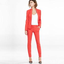 Laranja s calças de terno on-line-Mulheres Pant Ternos desgaste do trabalho formal das mulheres blazer de manga comprida com Calças escritório plus size terno laranja