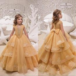33d3390a6b2df Çiçek Kız Elbise Kısa Kollu Şampanya Dantel Aplikler Kız Pageant elbise  Toddlers Gençler Çocuklar Doğum Günü Partisi Communion Elbise