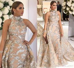 Vestido de noite azul royal de luxo on-line-Yousef Aljasmi 2019 Prom Dresses Pescoço altos com trem destacável Modest Luxo brilhante Lace Applique Plus Size Evening Pageant Vestidos de desgaste