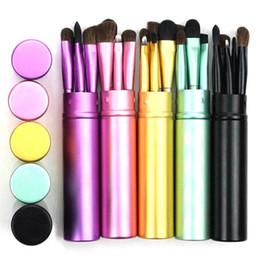 Make-up pinsel set real online-5 stücke Reise Tragbare Augen Make-Up Pinsel Set Real Lidschatten Eyeliner Augenbrauen Pinsel Lippen Make-Up Kit Professionelle