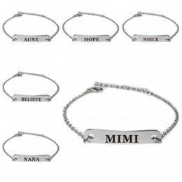 Bracelet en acier inoxydable gravé lettres anglaises famille famille bracelets grand-mère Nana inspiré Bracelet Bar Will et Sandy Drop Ship ? partir de fabricateur
