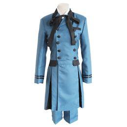 Anime menino uniforme on-line-2019 Hot Black Butler 2 Kuroshitsuji Ciel Phantomhive Blue Boy Lolita Suit Anime Unisex Cosplay Uniform