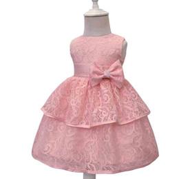 saia de arco bonito Desconto Vestido da menina Vestido de princesa Vestidos de baile Outono rendas Aleeveless Cute Bow versão coreana Saia monocromática 49