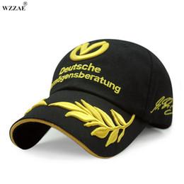 2020 tapa ajustable hebilla WZZAE 2017 Nuevo Negro y Rojo Snapback Caps Hebilla Ajustable Para Schumacher Signature F1 Fórmula Uno Marca de Moda Gorras de Béisbol tapa ajustable hebilla baratos