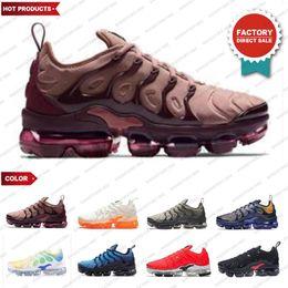 2019 TNs Plus Running Shoes Run UTILITY Triple White Black Sunset Geometric Active Fuchsia Mens Trainers Air cushion shoes Sports Sneakers