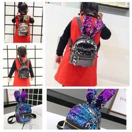 Sıcak 4 renk pullu sırt çantası sevimli tavşan sırt çantası çocuk sırt çantaları moda kızlar tek omuz çantası saklama çantası T2D5026 nereden dizüstü bilgisayarlar için sabit diskler tedarikçiler