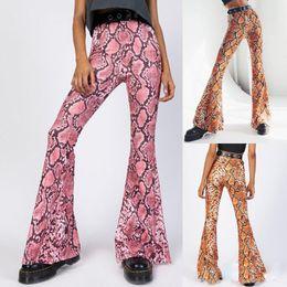 Canada 2019 nouvelles femmes Sexy Flare Leopard serpent impression Bell Bottom Stretch taille haute Flare Pants Pantalon Pantalon Offre