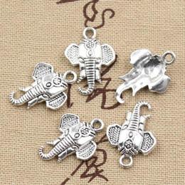 Braccialetto d'argento elefante all'ingrosso online-Wholesale-99Cents 12pcs Charms testa di elefante 22 * 16mm antico che fa ciondolo misura, argento tibetano vintage, collana braccialetto fai da te