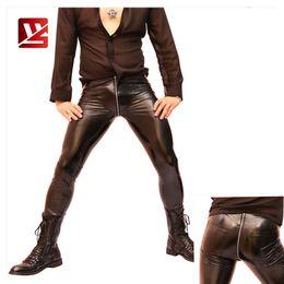 mens calças brilhantes Desconto MEISE Sexy Mens Alta Elastic Apertado Calças De Couro Falso Low Rise Calças Lápis Bar Shiny Stage Traje Homme Zipper Longo Pant NK12