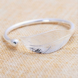 девушки простой браслет Скидка  925 sterling silver bracelet for women simple feather wings bangle for lady jewelry accessories girls gifts