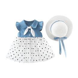 Conception de chapeau de robe en Ligne-Summer Girls Dress Casual bébé filles Patchwork Design robe à manches évasées pour maille de coton enfants Toddler Sundress avec chapeau