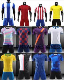 Leere fußball-uniformen online-19/20 Blank KID / Männliches Fußballtrikot-T-Shirt, Kindersport-Club-Trikot-Shorts, Sportler-Fußballtrikot-Kleidung, Futbol-Traning-Uniformen