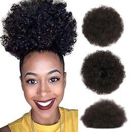 2019 coletas sintéticas con cordón Afro Kinky pelo rizado cola de caballo afroamericano corto Afro Kinky rizado abrigo sintético cordón Puff cola de caballo coletas sintéticas con cordón baratos