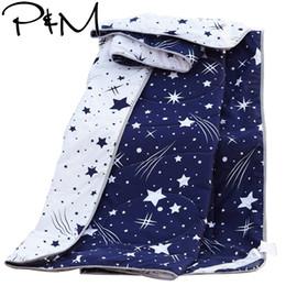 tamaño azul de la reina del lecho de la tela escocesa azul Rebajas PapaMima meteor Print Verano Edredón Doble tamaño Queen Azul oscuro Manta de mantas Ropa de cama Plaid Colcha