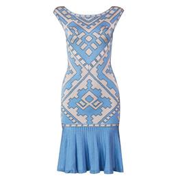 Elástico vestido bandage malha on-line-Top Qualidade Sexy Jacquard Sereia Bandage Vestido 2019 De Malha Elastic Elegante Vestido De Festa