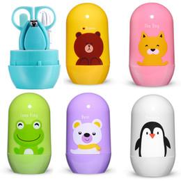 Argentina 4 unids Kits de Cuidado de la Salud del Bebé Conjunto de Cuidado de Uñas de Bebé Infantil Dedo Recortador Tijeras de Uñas Clippers Dibujos Animados Animal Caja de Almacenamiento para Viajes Suministro