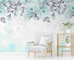 Murales de flores azules online-Custom Photo Wallpaper 3d Wallpaper Blue Flower Murales de pared Papeles de pared de lujo Decoración para el hogar para sala de estar Mural Personalizado
