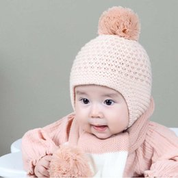 9f557cf0ea1 Winter Warm Kids Hats Fashion Boys Girls Hairball Cap Crochet Windproof  Earmuffs Baby Knitted Hats Pompom Beanie Children Bonnet