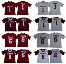 NCAA 2018 Oklahoma Sooners 1 Kyler Murray 6 Baker Mayfield College Football  Jerseys Mens Home Red Murray Mayfield Stitched Football Shirts 947199a6b