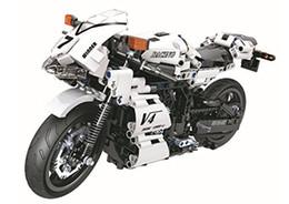 Bloques de construcción de motocicletas online-Technic Series White Racing Motorcycle Building Blocks Ladrillos DIY Juguetes 716pcs