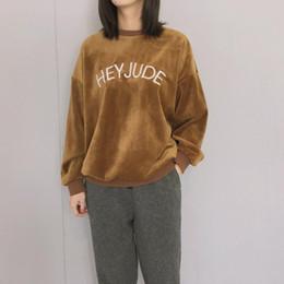 2019 niedliches koreanisches sweatshirt Pop Style Herbst Pullover Hoodies Frauen Hoodie Korean Cute Letters Stickerei HEY JUDE Harajuku Frauen Sweatshirt Kleidung günstig niedliches koreanisches sweatshirt