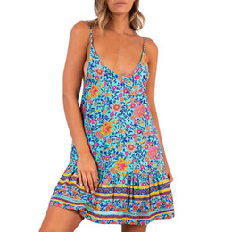 bule sexy dresses Coupons - Robe Femme Ete 2019 Women Dress Sleeveless V-Neck Boho Loose Floral Print Bule Summer Dress Spaghetti Strap Sexy Beach Dresses