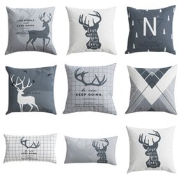 Sofá gris negro online-Nordic Cover Cushions Cojines decorativos Funda Deer Grey Black Throw Pillows Case Cojines geométricos para sofá 45x45