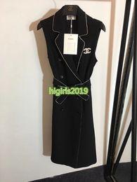 broche de chaleco Rebajas Mujeres niña chaleco camisa vestido carta cristal broche rhinestone cinturón cinturón solapa sin mangas una línea faldas midi vestidos de lujo de gama alta